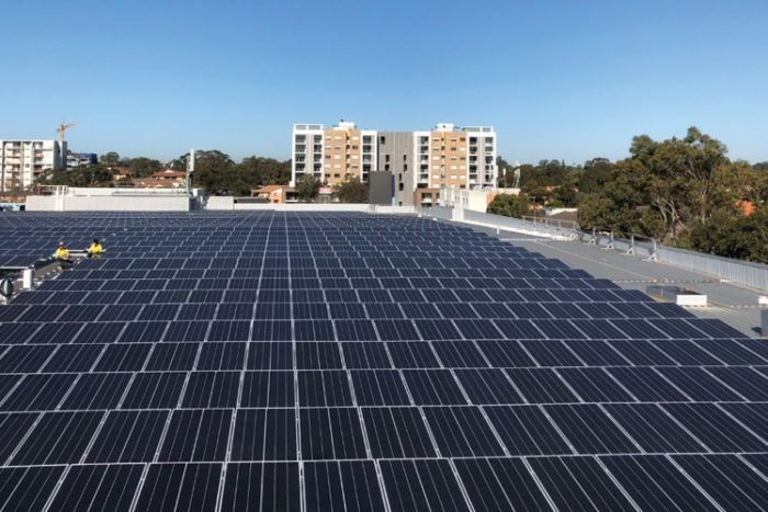 Solar panels on the roof of a Stockland property in Merrylands