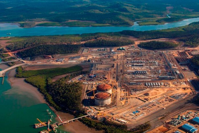 Areial shot of the Curtis Island LNG plant