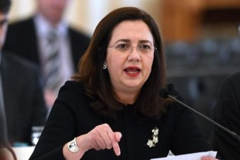 Queensland Premier Annastacia Palaszczuk speaks forcefully at a budget estimates hearing.