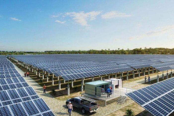 Artist impression of a solar farm
