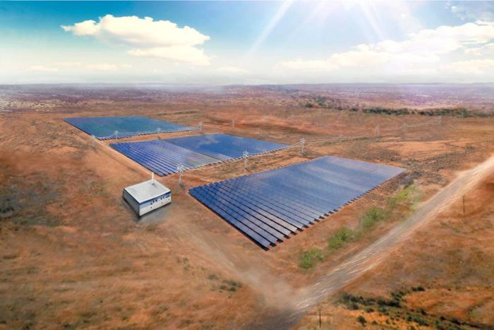 An artist's impression of Lyon Group's solar and battery project at Nowingi, Victoria.