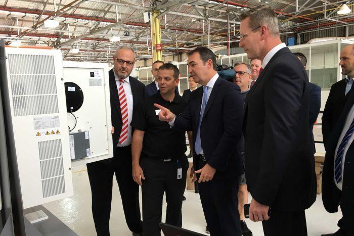 Premier Steven Marshall with Sonnen CEO Christoph Ostermann