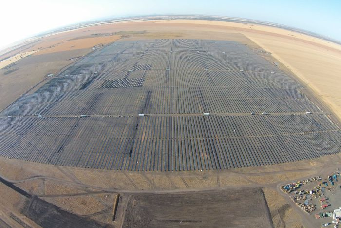 Aerial view of the nearly-completed Moree Solar Farm.